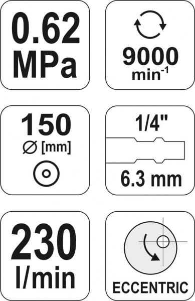 Masina de Slefuit Pneumatica YATO, 150mm, 9000 rpm, 230 l/min [3]