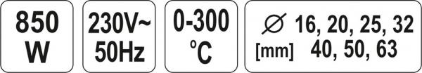 Masina de sudat termoplastice YATO, 0-300 °C,  850W 3