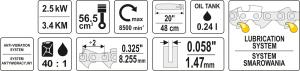 Motofierastrau pe Benzina YATO, 2.5kW, 3.4Cp, 48cm 3
