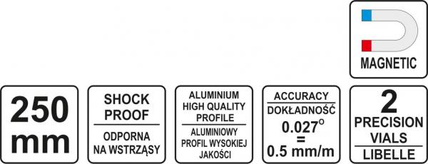 Nivela Magnetica YATO, 250mm, 2 Bule 4