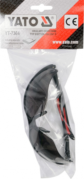 Ochelari protectie YATO, lentila neagra, protectie UV, plastic 1