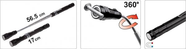 Pachet VOREL, Dulap scule profesional, 6 sertare, Echipat 177 piese + Telescop magnetic, cu led, 17-56.5cm, 3led 10