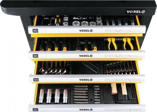 Pachet VOREL, Dulap scule profesional, 6 sertare, Echipat 177 piese + Telescop magnetic, cu led, 17-56.5cm, 3led 4