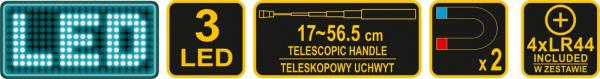 Pachet VOREL, Dulap scule profesional, 6 sertare, Echipat 177 piese + Telescop magnetic, cu led, 17-56.5cm, 3led 11