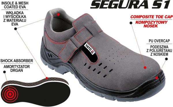 Pantofi de protectie YATO tip sanda de vara, piele S1, 200J gri 1