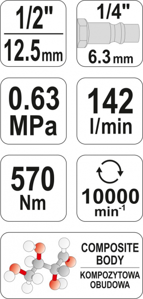 Pistol Pneumatic YATO, 1/2 inch, 570Nm [5]