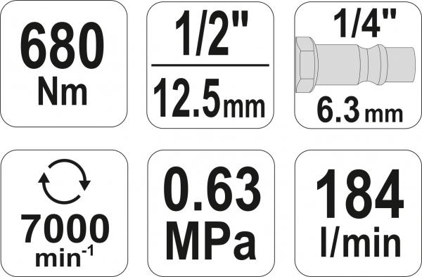 Pistol Pneumatic YATO, 1/2 inch, 680Nm 5