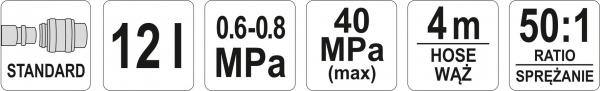 Pompa Pneumatica YATO, Pentru Gresat, 12l, 4m 2