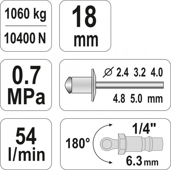 Presa Pneumatica YATO, Pentru Nituit, 2.4 - 5mm, 1060kg 4