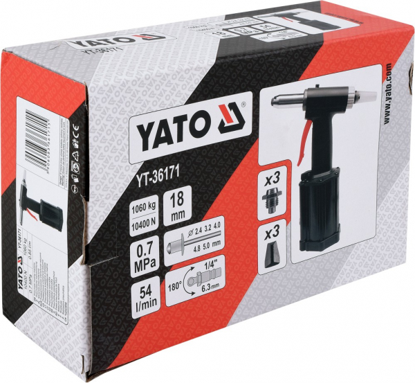 Presa Pneumatica YATO, Pentru Nituit, 2.4 - 5mm, 1060kg 2