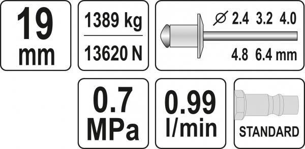 Presa Pneumatica YATO, Pentru Nituit, 2.4 - 6.4mm, 1389kg 2
