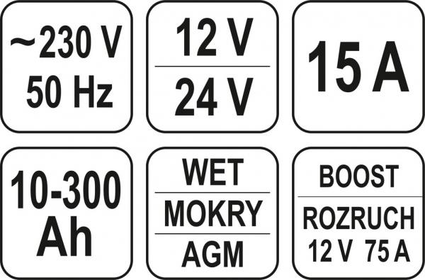 Redresor Auto YATO, 12/24V, 15A, 300Ah 3