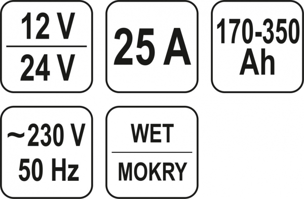 Redresor Auto YATO, 12/24V, 25A, 350Ah 2