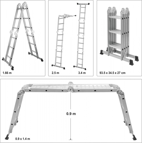 Scara multifunctionala VOREL, otel/aluminiu, 3.4m, 4X3 trepte 6