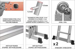 Scara multifunctionala VOREL, otel/aluminiu, 3.4m, 4X3 trepte 5