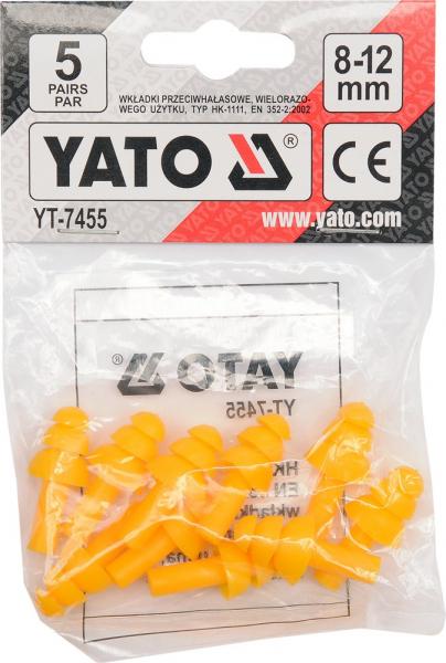 Set antifoane YATO, tip dop, 8-12mm, silicon, 5 perechi [2]