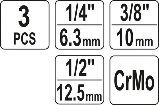 Set Articulatii Cardanice YATO, de Impact, cu Bila, CR-Mo, 1/4 - 3/8 - 1/2 inch, 3buc [2]