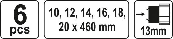 Set burghie elicoidale YATO, pentru lemn, 10-20mm, 460mm, 6buc 2