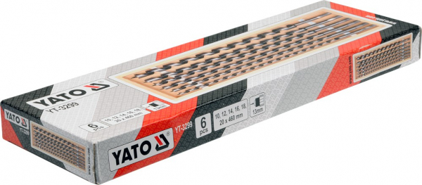 Set burghie elicoidale YATO, pentru lemn, 10-20mm, 460mm, 6buc 1