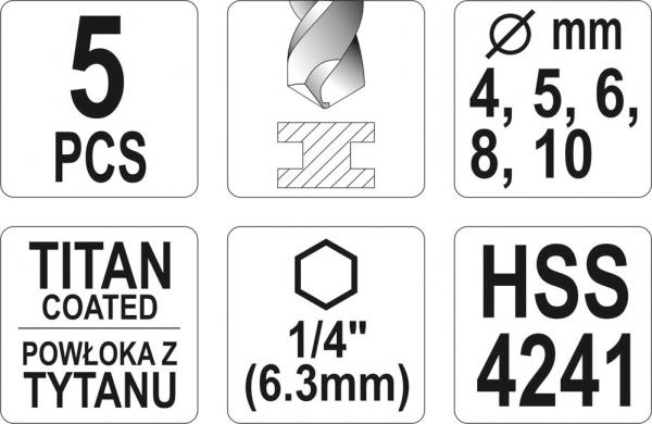 Set burghie YATO, pentru metal, HSS-titan, 1/4, 5buc 2