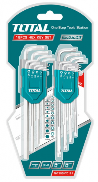 Set Chei Imbus TOTAL, Hex & Torx, Cr-V, 1.5-10mm, T10-T50, 18 buc, INDUSTRIAL 0