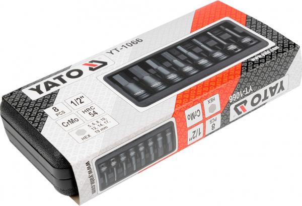 Set Chei Tubulare YATO, De Impact, Hex, 6 - 19mm, CR-Mo, 1/2 Inch, 8buc 1