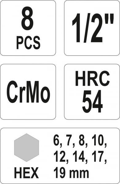 Set Chei Tubulare YATO, De Impact, Hex, 6 - 19mm, CR-Mo, 1/2 Inch, 8buc 2