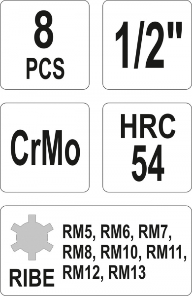 Set Chei Tubulare YATO, De Impact, RIBE, RM5-RM13, CR-Mo, 1/2 Inch, 8buc 2