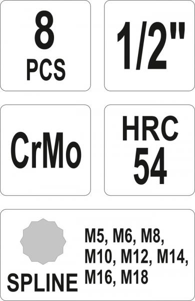 Set Chei Tubulare YATO, De Impact, SPLINE, M5-M18, CR-Mo, 1/2 Inch, 8buc 2