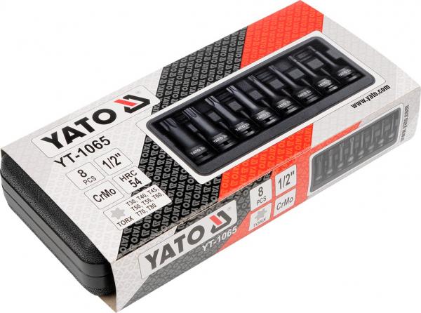 Set Chei Tubulare YATO, De Impact, Torx, T30-T80, CR-Mo, 1/2 Inch, 8buc 1