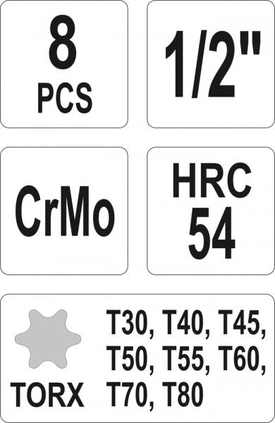 Set Chei Tubulare YATO, De Impact, Torx, T30-T80, CR-Mo, 1/2 Inch, 8buc 2