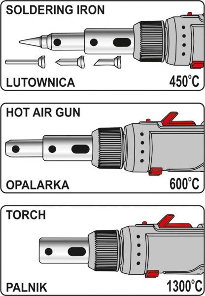 Set ciocan de lipit cu gaz YATO, piezo, 30ml, 30 - 125W, 7piese [6]