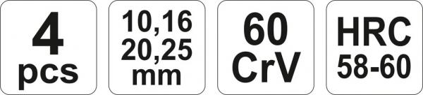 Set Dalti Pentru Lemn YATO, 10 - 16 - 20 - 25mm, CR-V, 4 buc [2]