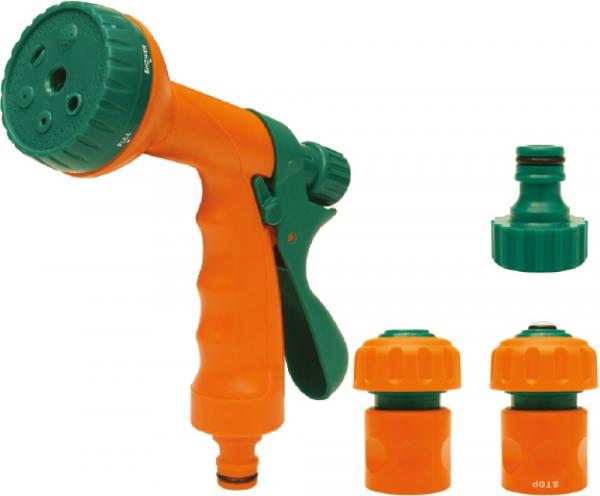Set FLO, pistol pentru stropit + adaptoare, 6 functii , 1/2, 4 piese 0