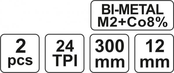 Set Panze Fierastrau YATO, Pentru Metal, 300 X 12 X 0.6mm, BI-METAL, 24TPI, 2buc 2