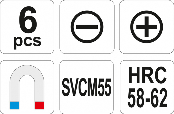 Set Surubelnite YATO, Lacatuserie, 6 buc, SVCM55 2