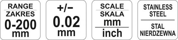 Subler Inox YATO, 200mm, Precizie 0.02mm 4