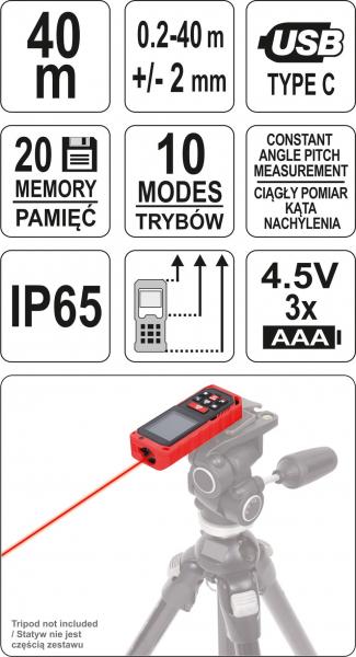 Telemetru cu Laser YATO, 0.2 - 40m 5
