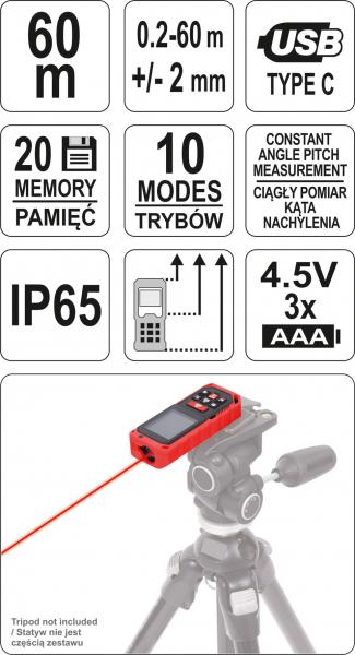 Telemetru cu Laser YATO, 0.2 - 60m 5