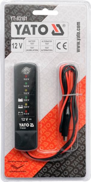 Tester YATO, Pentru Acumulatori si Alternator, Digital, 12V 1