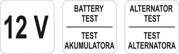 Tester YATO, Pentru Acumulatori si Alternator, Digital, 12V 2