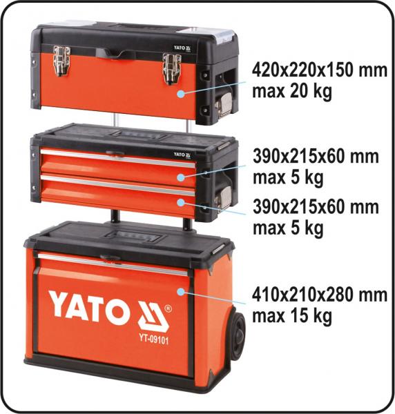 Troler Pentru Scule YATO, Capacitate 45kg, 520 X 320 X 720mm 2
