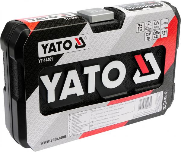Trusa Chei Tubulare YATO, Antrenor cu Clichet, CR-V, 1/4 inch, 25 buc 2