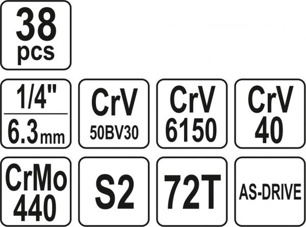 Trusa Chei Tubulare YATO, Antrenor cu Clichet, CR-V, 1/4 inch, 38 buc 5