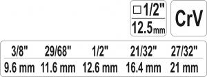 Cheie in Trepte YATO, Pentru Radiator, 1/2 inch2