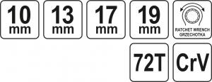 Cheie Inelara Dubla YATO, cu Clichet, CR-V, 72T, 10 X 13 X 17 X 19mm2