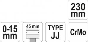 Cleste Autoblocant YATO, Pentru Tinichigerie, Tip JJ, 0 - 15mm, 230mm3