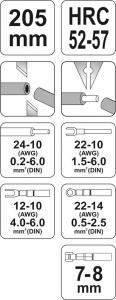 Cleste Decablator si Sertizat YATO, Automat, 205mm, 0.2 - 6mm [2]