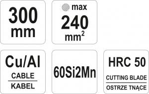 Cleste Pentru Cabluri YATO, Cu-AL, 300mm/240mm2