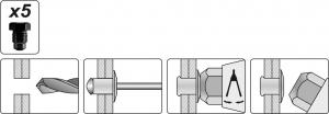 Cleste Popnituri YATO, 3.2 - 6.4mm, 330mm2